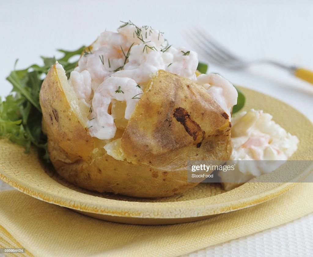 Surprising Baked Potato With Prawns And Cottage Cheese Stock Photo Interior Design Ideas Gentotryabchikinfo