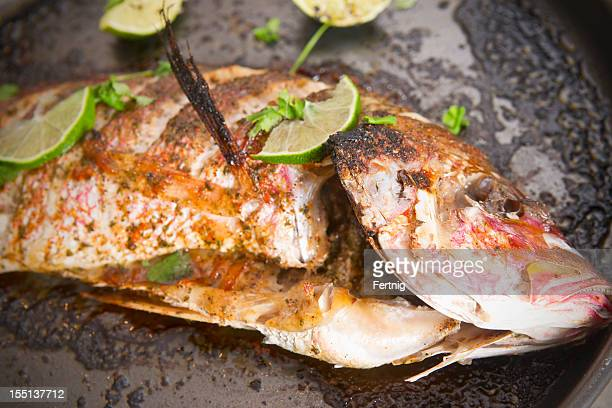 Baked reds snapper on an oven tray