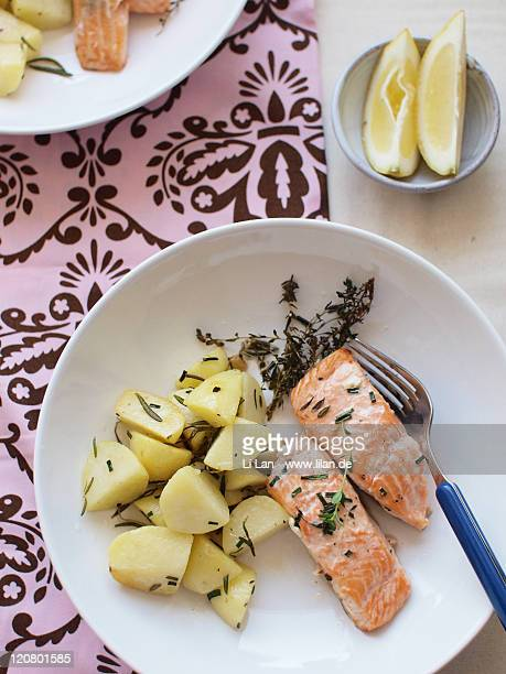 Baked salmon and potatoes