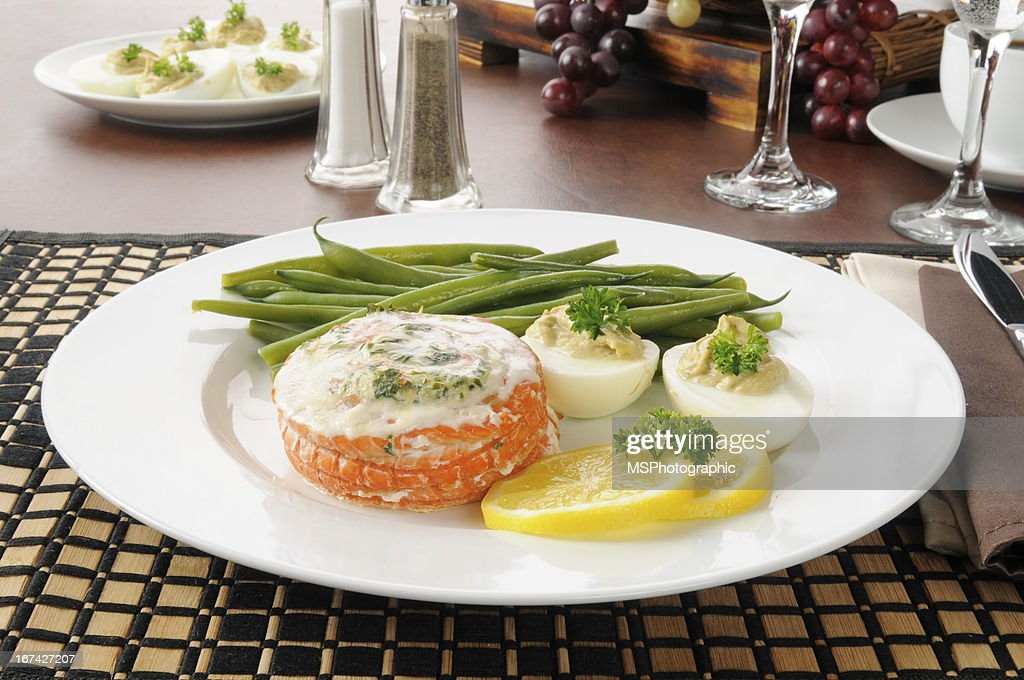 Baked salmon dinner : Stock Photo