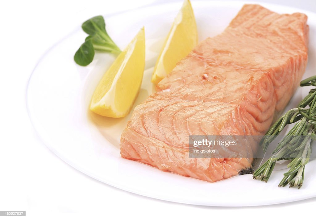 Baked salmon steak with rosemary. : Stock Photo