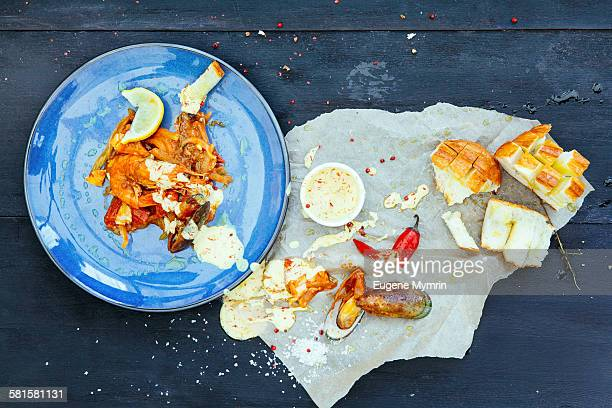 Baked seafood with leek and aioli