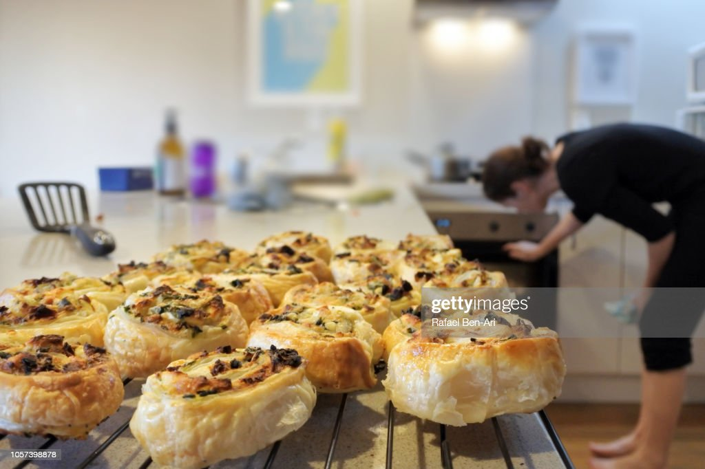 Baked Spanakopita Spinach Pie Greek Savory Pastry on Kitchen Counter : Stock Photo
