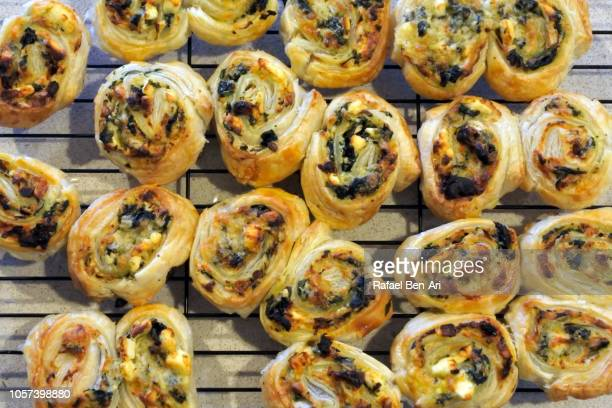 Baked Spanakopita Spinach Pie Greek Savory Pastry on Kitchen Counter
