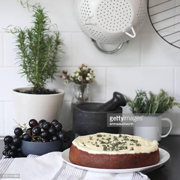Baked sponge cake in the kitchen