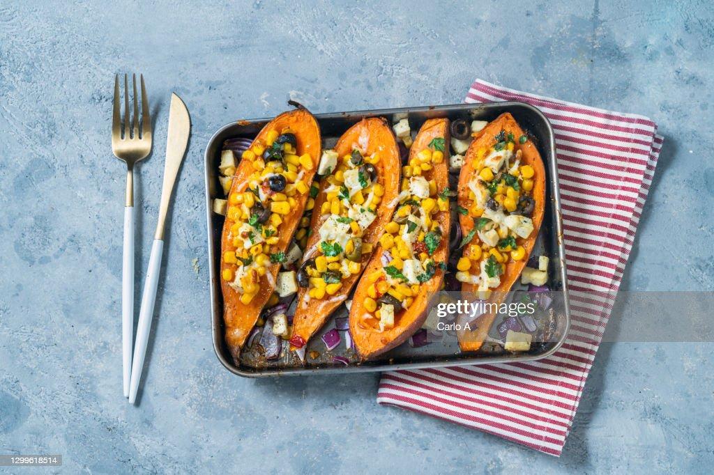 Baked Sweet potatoes with corn tofu  olives : Stock Photo