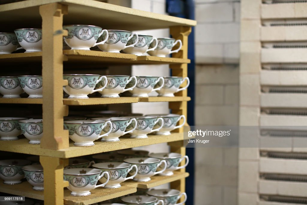 Baked tea cups for the production of special edition crockery ahead of the wedding of Prince Harry and Meghan Markle at William Edwards Home Ltd on May 16, 2018 in Stoke on Trent, England. Crafted in the Potteries, William Edwards Home Ltd has created a limited edition collection of fine bone china embellished with both platinum and 22 carat gold to celebrate the Royal marriage of HRH Prince Harry and Meghan Markle.