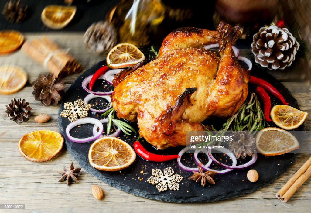 Baked turkey for Christmas or New Year space for text : Stock Photo