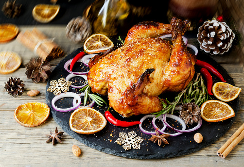Baked turkey for Christmas or New Year space for text - gettyimageskorea