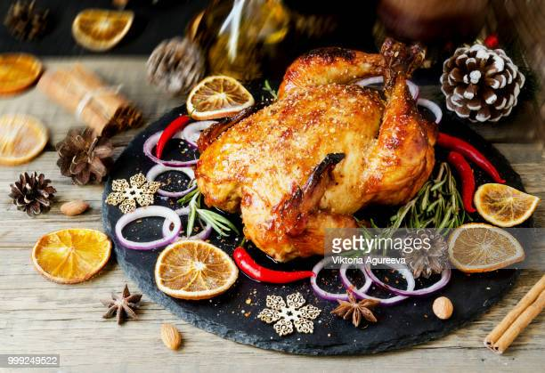 baked turkey for christmas or new year space for text - turkey meat stock pictures, royalty-free photos & images