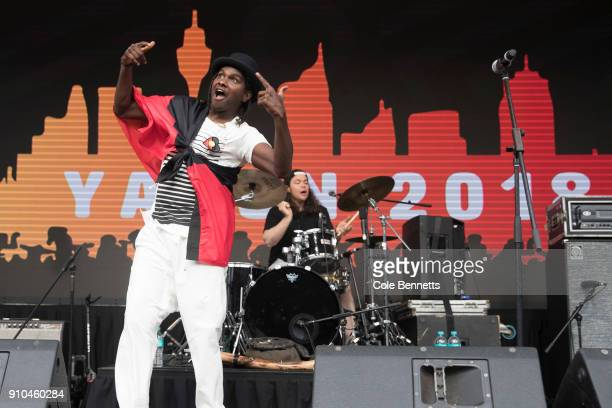 Baker Boy performs at Yabun Festival on January 26 2018 in Sydney Australia Australia Day formerly known as Foundation Day is the official national...