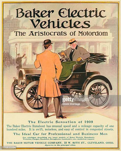"""Baker Electric Runabout is pictured in a magazine advertisement from 1909. The Runabout is described as """"The Ideal Car for Professional and Business..."""