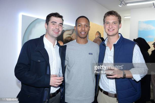Baker Guest and Jack Young attend Delusions of the Wild Solo Exhibition By Alexandra Houx Grounds at 213 Bowery on October 17 2019 in New York City