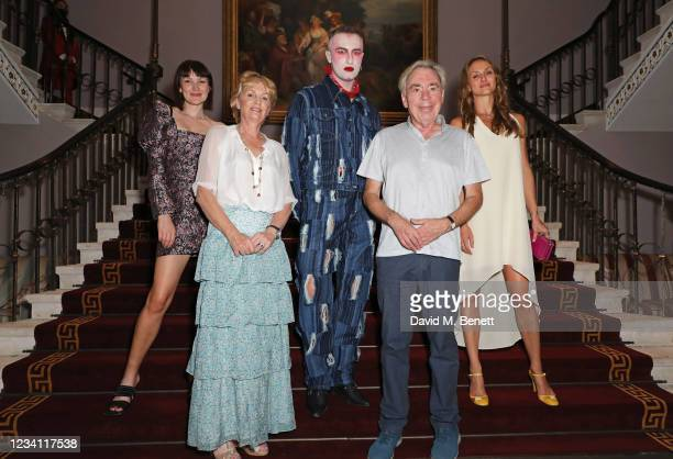 Baker Lily Vanilli, Lady Madeleine Lloyd Webber, Charles Jeffrey, Lord Andrew Lloyd Webber and Maria Kreyn attend the official opening of the Theatre...