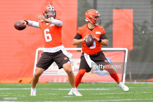 Baker Mayfield and Kevin Davidson of the Cleveland Browns work out during training camp on August 16 2020 at the Cleveland Browns training facility...