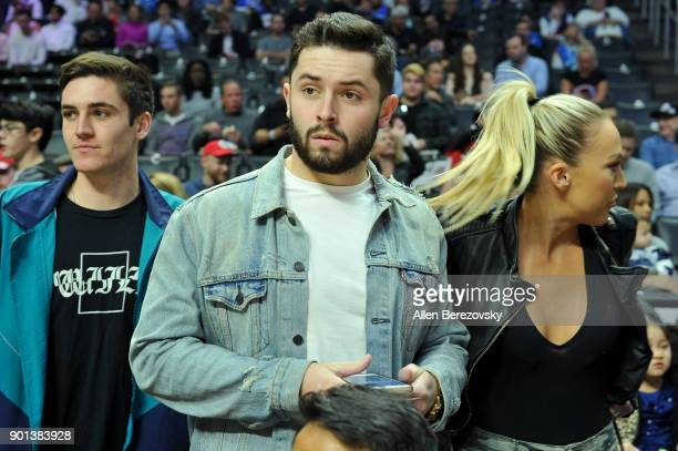 Baker Mayfield attends a basketball game between the Los Angeles Clippers and the Oklahoma City Thunder at Staples Center on January 4 2018 in Los...