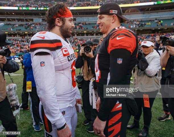 Baker Mayfield of the Cleveland Browns and Andy Dalton of the Cincinnati Bengals speak following the game at Paul Brown Stadium on December 29 2019...