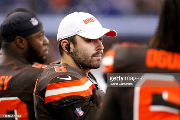 Baker Mayfield of the Cleveland Browns before the start of the preseason game against the Indianapolis Colts at Lucas Oil Stadium on August 17 2019...