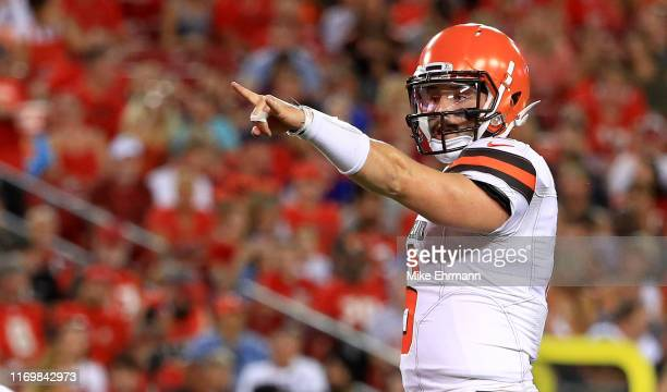 Baker Mayfield of the Cleveland Browns calls a play during a preseason game against the Tampa Bay Buccaneers at Raymond James Stadium on August 23...