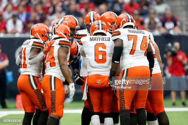 Baker Mayfield of the Cleveland Browns calls a play in the huddle in the second half against the Houston Texans at NRG Stadium on December 2 2018 in...