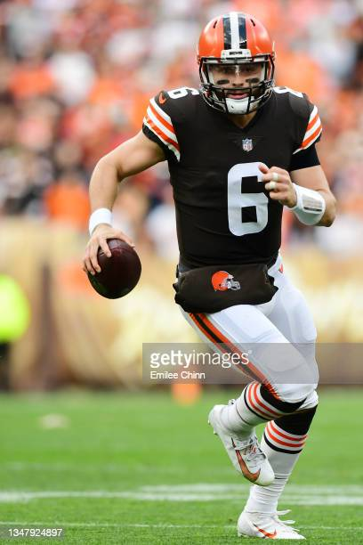 Baker Mayfield of the Cleveland Browns carries the ball during a game against the Arizona Cardinals at FirstEnergy Stadium on October 17, 2021 in...