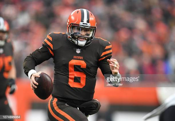 Baker Mayfield of the Cleveland Browns carries the ball during the fourth quarter against the Cincinnati Bengals at FirstEnergy Stadium on December...