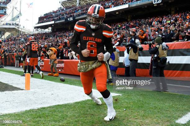 Baker Mayfield of the Cleveland Browns celebrates a touchdown pass in the first half against the Atlanta Falcons at FirstEnergy Stadium on November...