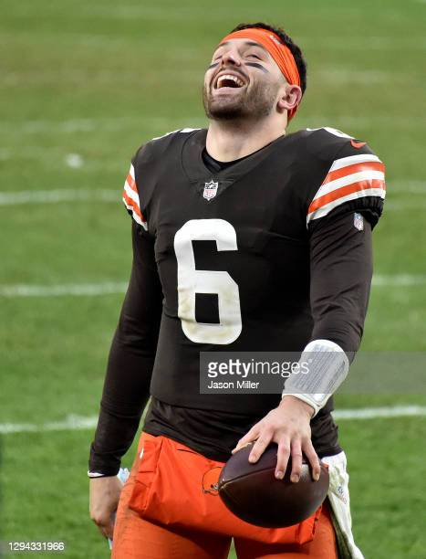Baker Mayfield of the Cleveland Browns celebrates after defeating the Pittsburgh Steelers 24-22 at FirstEnergy Stadium on January 03, 2021 in...