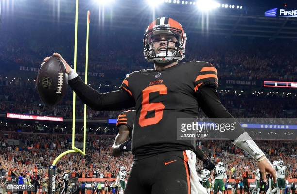 4c9027163 Baker Mayfield of the Cleveland Browns celebrates after making a catch on a  twopoint conversion attempt
