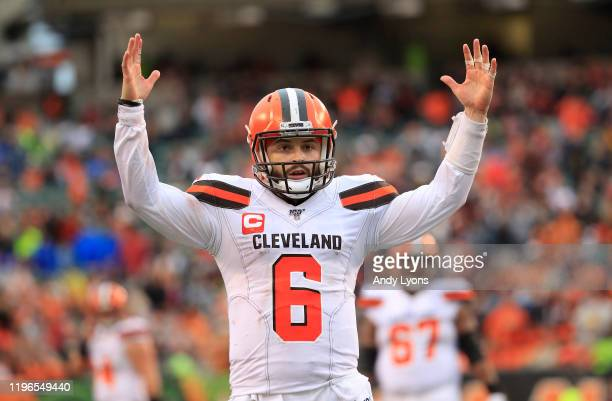 Baker Mayfield of the Cleveland Browns celebrates after throwing a touchdown pass during the game against the Cincinnati Bengals at Paul Brown...