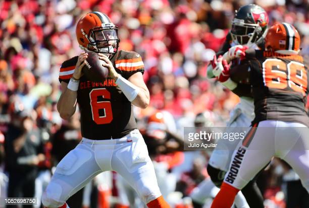 Baker Mayfield of the Cleveland Browns drops back in the second quarter against the Tampa Bay Buccaneers on October 21, 2018 at Raymond James Stadium...