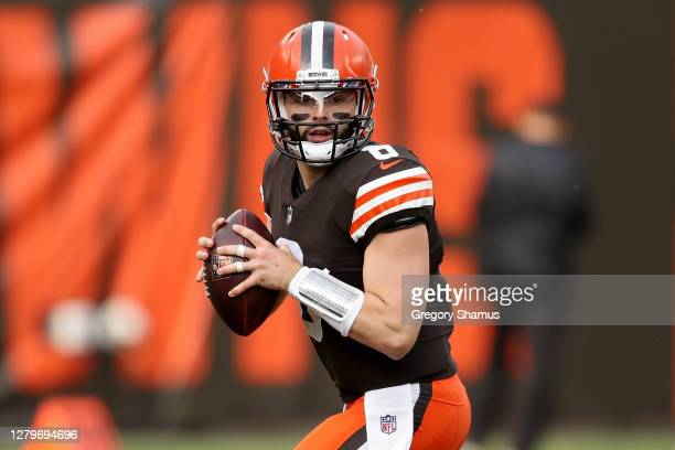 Baker Mayfield of the Cleveland Browns drops back to pass in the first quarter against the Indianapolis Colts at FirstEnergy Stadium on October 11,...