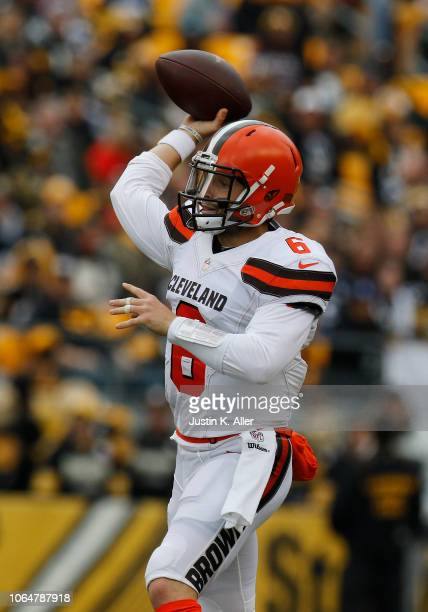 Baker Mayfield of the Cleveland Browns in action against the Pittsburgh Steelers on October 28 2018 at Heinz Field in Pittsburgh Pennsylvania