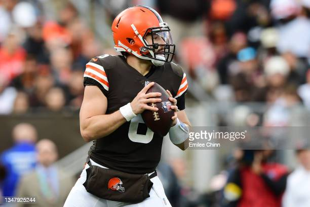 Baker Mayfield of the Cleveland Browns looks to pass during a game against the Arizona Cardinals at FirstEnergy Stadium on October 17, 2021 in...