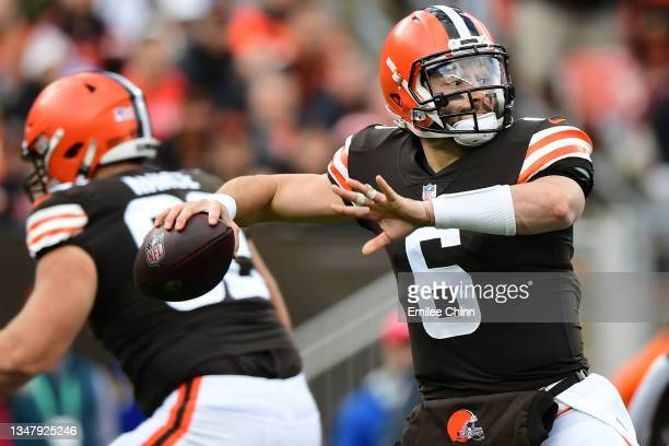 Baker Mayfield of the Cleveland Browns makes a pass during a game against the Arizona Cardinals at FirstEnergy Stadium on October 17, 2021 in...