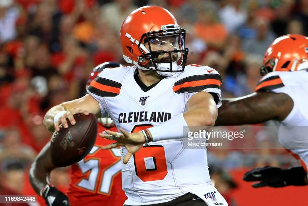 Baker Mayfield of the Cleveland Browns passes during a preseason game against the Tampa Bay Buccaneers at Raymond James Stadium on August 23 2019 in...