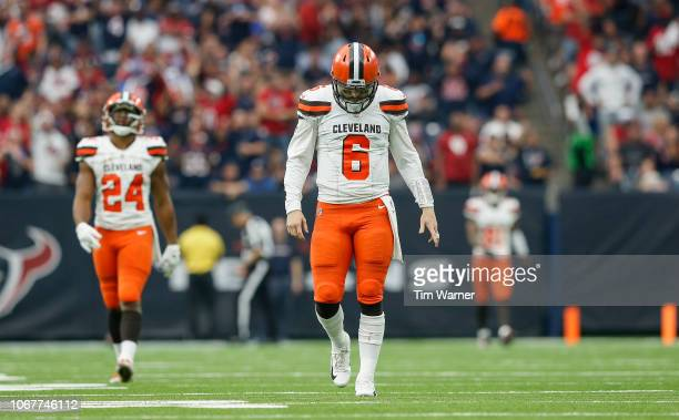 Baker Mayfield of the Cleveland Browns reacts after a touchdown was called back due to a penalty in the third quarter against the Houston Texans at...
