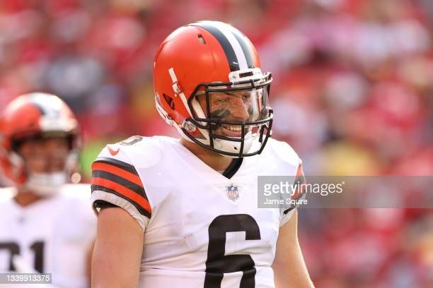Baker Mayfield of the Cleveland Browns reacts during the first half against the Kansas City Chiefs at Arrowhead Stadium on September 12, 2021 in...