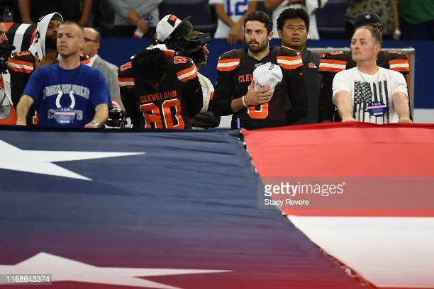 Baker Mayfield of the Cleveland Browns stands for the National Anthem prior to a game against the Indianapolis Colts at Lucas Oil Stadium on August...