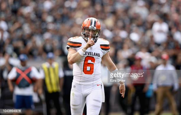 Baker Mayfield of the Cleveland Browns tells to the crowd to be quiet after the Browns scored a touchdown against the Oakland Raiders at...