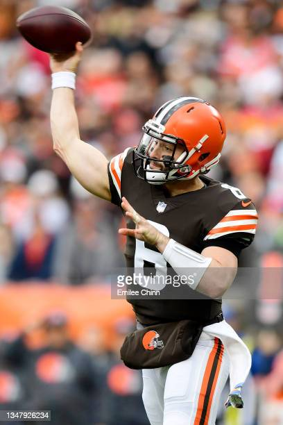 Baker Mayfield of the Cleveland Browns throws a pass during a game against the Arizona Cardinals at FirstEnergy Stadium on October 17, 2021 in...