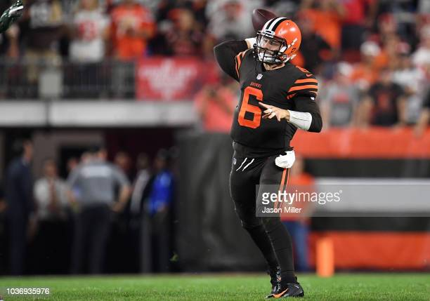 Baker Mayfield of the Cleveland Browns throws a pass during the second quarter against the New York Jets at FirstEnergy Stadium on September 20 2018...