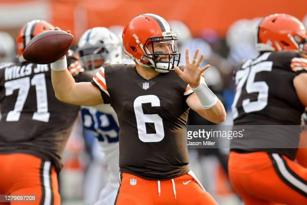 Baker Mayfield of the Cleveland Browns throws a pass in the first quarter against the Indianapolis Colts at FirstEnergy Stadium on October 11 2020 in...
