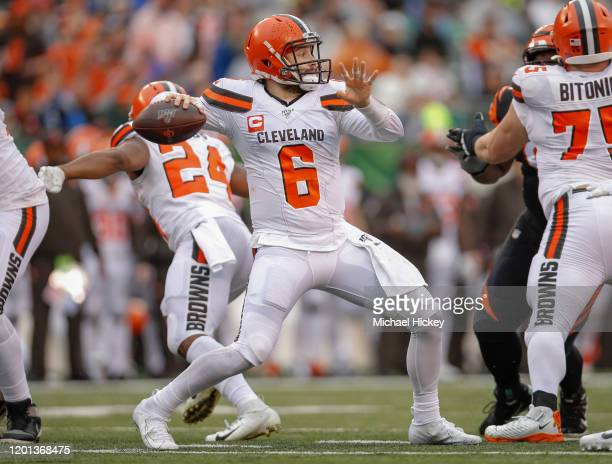 Baker Mayfield of the Cleveland Browns throws the ball during the game against the Cincinnati Bengals at Paul Brown Stadium on December 29 2019 in...
