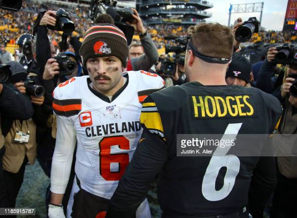 Baker Mayfield of the Cleveland Browns walks away from Devlin Hodges of the Pittsburgh Steelers after the Steelers defeated the Browns 2013 on...