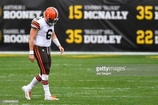 Baker Mayfield of the Cleveland Browns walks off the field after failing to convert on third down against the Pittsburgh Steelers in the second...