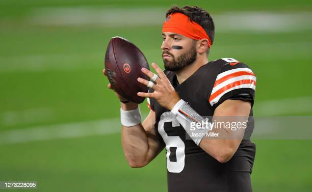 Baker Mayfield of the Cleveland Browns warms up against the Cincinnati Bengals during the first quarter at FirstEnergy Stadium on September 17 2020...