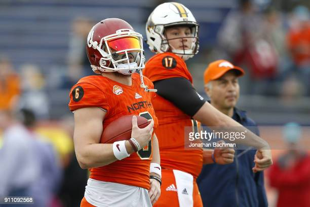 Baker Mayfield of the North team and Josh Allen warm up before the Reese's Senior Bowl at LaddPeebles Stadium on January 27 2018 in Mobile Alabama