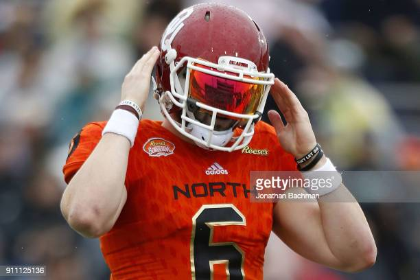 Baker Mayfield of the North team reacts during the first half of the Reese's Senior Bowl against the the South team at LaddPeebles Stadium on January...