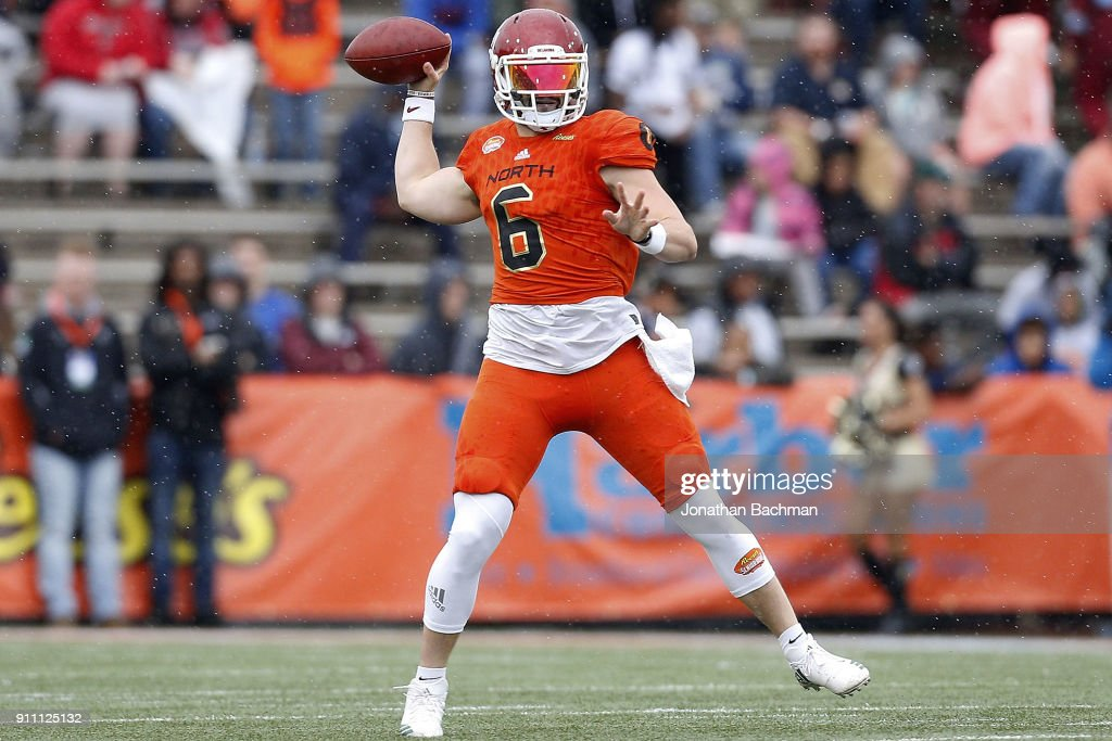 Baker Mayfield #6 of the North team throws the ball during the first half of the Reese's Senior Bowl against the the South team at Ladd-Peebles Stadium on January 27, 2018 in Mobile, Alabama.
